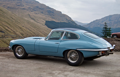 Jaguar E-Type 4.2 at the 'Rest and be Thankful' hill climb event