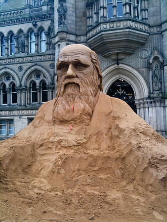 Occasionally something good happens in Bradford. This is a giant sand-sculpture of Charles Darwin, erected in  August 2009. iPhone shot.